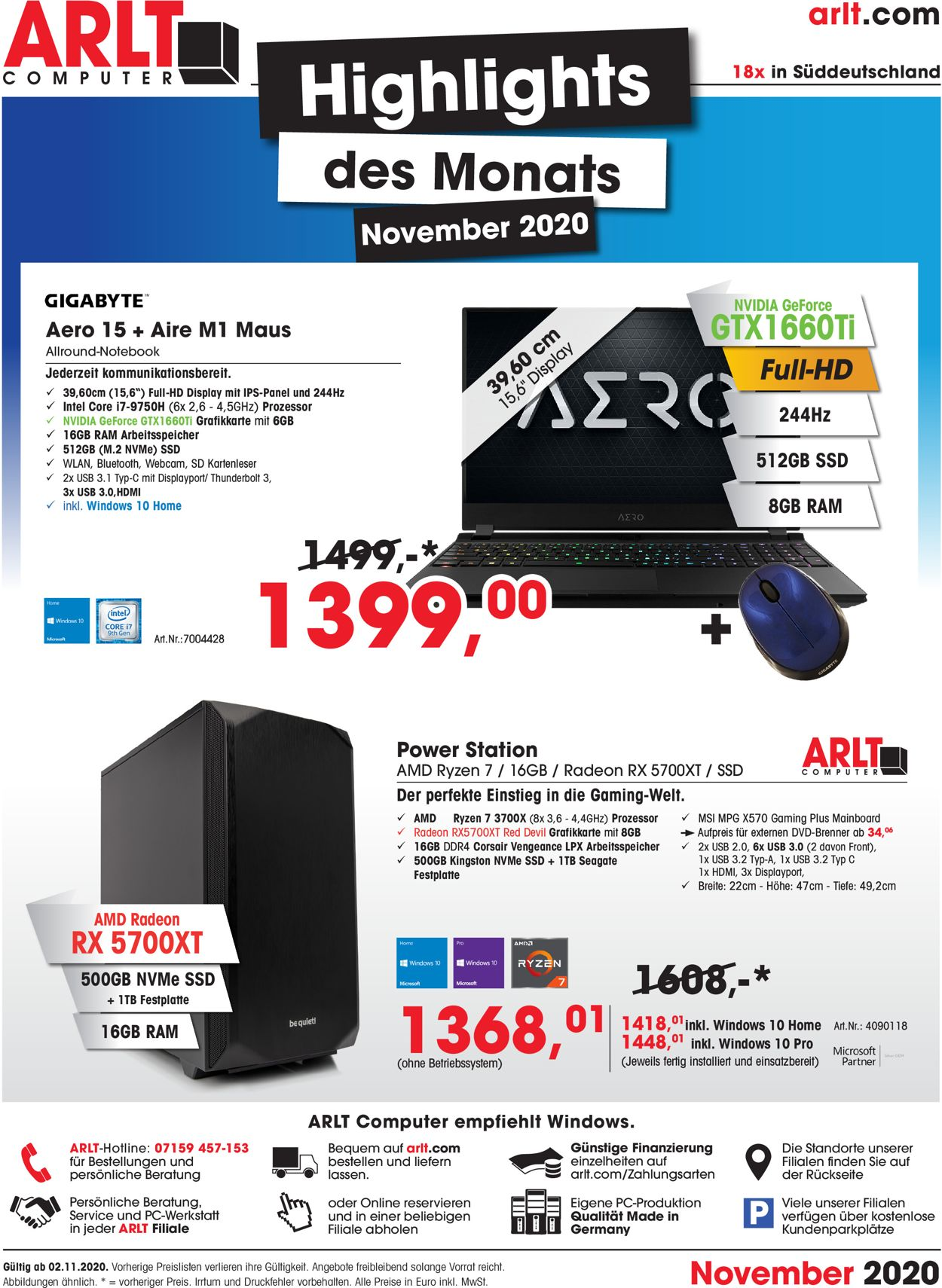 Prospekt ARLT Computer vom 02.11.2020