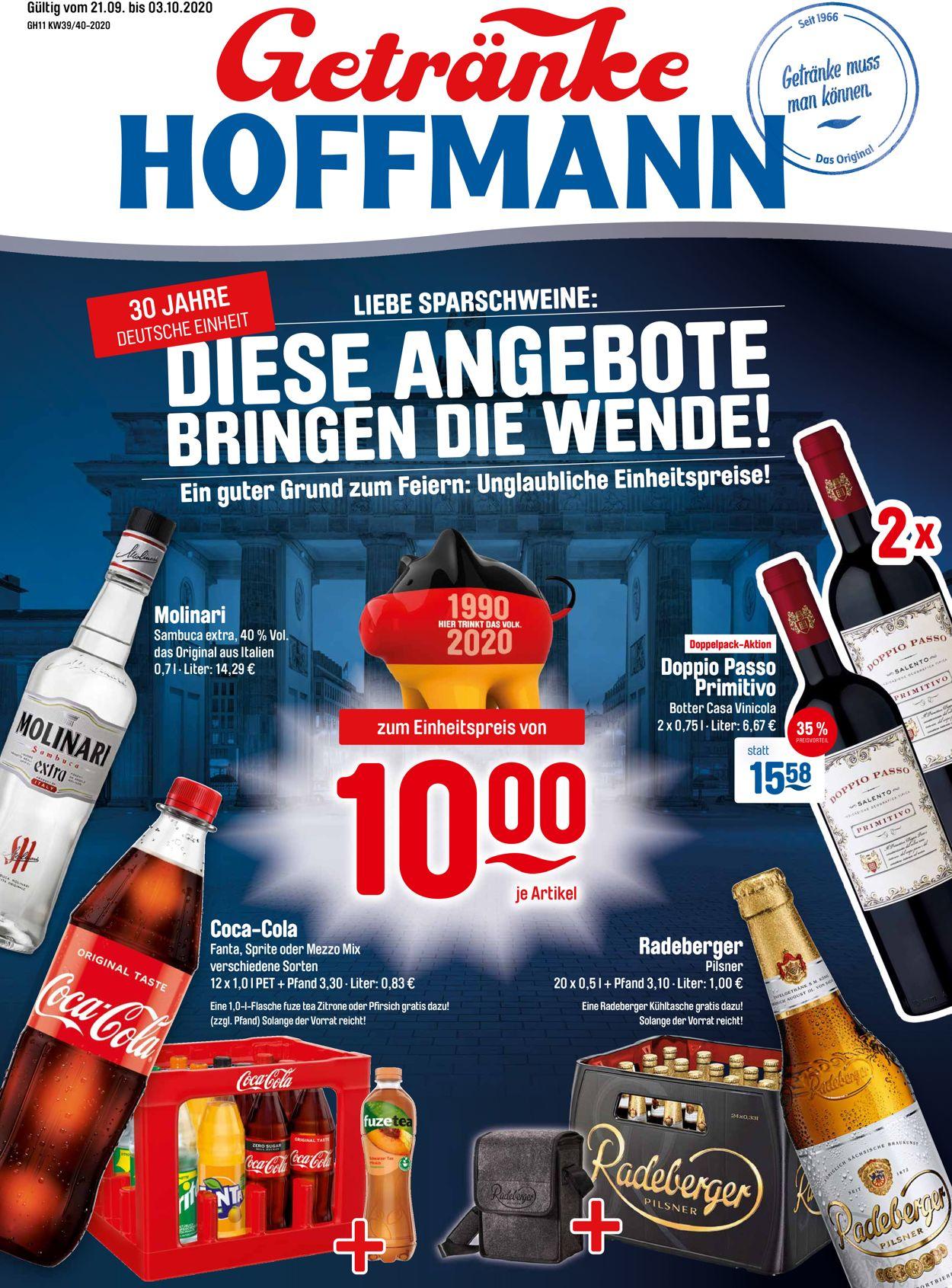 Prospekt Getränke Hoffmann vom 21.09.2020