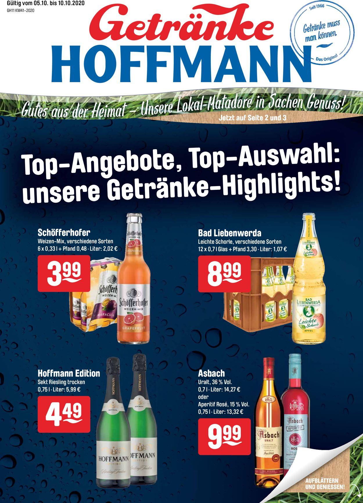 Prospekt Getränke Hoffmann vom 05.10.2020